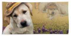 Maverick And Tori - Labrador Art Hand Towel