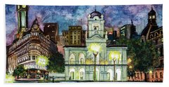 Bath Towel featuring the painting May Square, Buenos Aires by Bernardo Galmarini