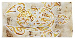 Hand Towel featuring the painting Mayan Turtle by J- J- Espinoza
