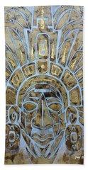 Hand Towel featuring the painting Mayan Warrior by J- J- Espinoza
