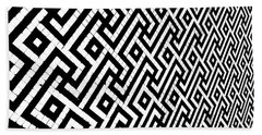 Maze Print Bath Towel by Rebecca Harman