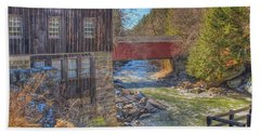Hand Towel featuring the digital art Mcconnells Mill Winter  by Randy Steele