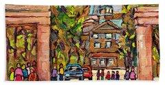 Mcgill Gates  Entrance Of Mcgill University Montreal Quebec Original Oil Painting Carole Spandau Bath Towel