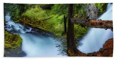 Hand Towel featuring the photograph Mckenzie River From Sahalie Falls by Cat Connor