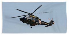 Hand Towel featuring the photograph Md State Police Helicopter by Robert Banach