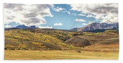 Bath Towel featuring the photograph Meadows Aspen And Mountains by Stephen Johnson