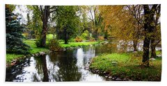 Meandering Creek In Autumn Hand Towel