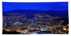Medellin Colombia At Night Hand Towel