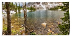 Medicine Bow Snowy Mountain Range Lake View Hand Towel