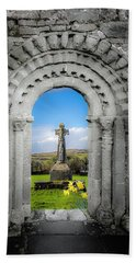 Medieval Arch And High Cross, County Clare, Ireland Bath Towel