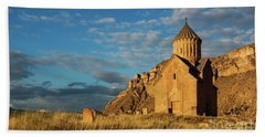Medieval Areni Church Under Puffy Clouds, Armenia Hand Towel