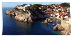 Medieval Fortresses Lovrijenac And Bokar Dubrovnik Hand Towel by Jasna Dragun