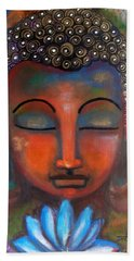 Bath Towel featuring the painting Meditating Buddha With A Blue Lotus by Prerna Poojara