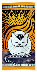Meditation - Cat Art By Dora Hathazi Mendes Bath Towel