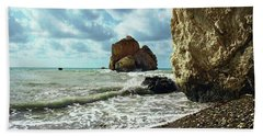 Mediterranean Sea, Pebbles, Large Stones, Sea Foam - The Legendary Birthplace Of Aphrodite Bath Towel