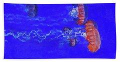 Hand Towel featuring the digital art Medusas Jellyfishes by PixBreak Art
