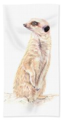 Meerkat In Charge Bath Towel by Elizabeth Lock