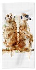 Meerkats Hand Towel by Marian Voicu