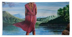 Hand Towel featuring the painting Meet Me At The River by Anthony Mwangi