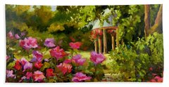 Bath Towel featuring the painting Meet Me In The Garden by Chris Brandley