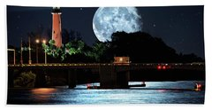 Mega Super Moon Rising Over Jupiter Lighthouse Hand Towel