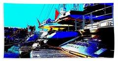 Mega Yachts Hand Towel by Rogerio Mariani