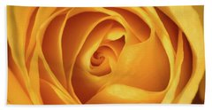 Hand Towel featuring the photograph Mellow Yellow Rose Square by Terry DeLuco