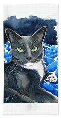 Melo - Blue Tuxedo Cat Painting Hand Towel