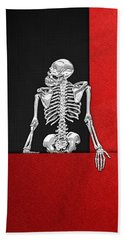 Memento Mori - Skeleton On Red And Black  Bath Towel