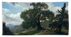 Memory Of A Wooded Island In The Baltic Sea. Oak Trees By The Sea  Bath Towel