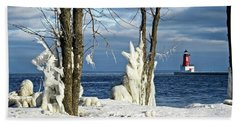 Menominee Lighthouse Ice Sculptures Bath Towel
