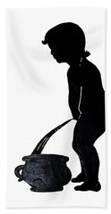 Mens Room Sign Silhouette Hand Towel