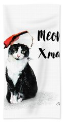 Hand Towel featuring the painting Meowy Xmas by Colleen Taylor