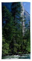 Merced River And El Capitan Yosemite Hand Towel by Panoramic Images