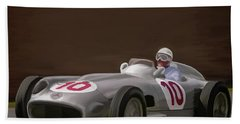 Mercedes-benz W196 Number 10 Hand Towel by Wally Hampton
