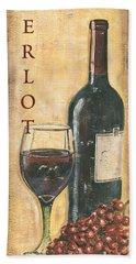 Merlot Wine And Grapes Hand Towel by Debbie DeWitt