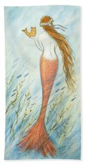 Mermaid And Her Catfish, Goldie Hand Towel by Tina Obrien