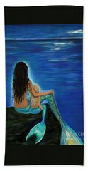 Hand Towel featuring the painting Mermaid And Her Daughter by Leslie Allen