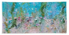 Hand Towel featuring the painting Mermaid Meditation by Judith Rhue