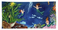 Bath Towel featuring the painting Mermaid Recess by Carol Sweetwood