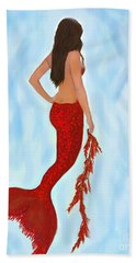Hand Towel featuring the painting Mermaid Ruby by Leslie Allen