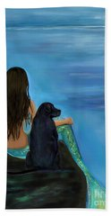 Hand Towel featuring the painting Mermaids Loyal Bud by Leslie Allen
