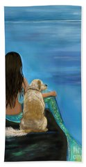Hand Towel featuring the painting Mermaids Loyal Buddy by Leslie Allen