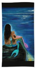 Hand Towel featuring the painting Mermaids Sweet Little Girls by Leslie Allen