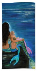 Hand Towel featuring the painting Mermaids Sweet Little Ones by Leslie Allen