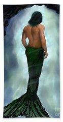 Hand Towel featuring the painting Merman Below by Leslie Allen