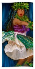 Merrie Monarch Hula Hand Towel by Jenny Lee