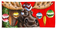 Merry Chris Moose Hand Towel