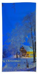 Merry Christmas Cabin Digital Art Bath Towel