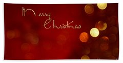 Merry Christmas Card - Bokeh Bath Towel by Aimelle